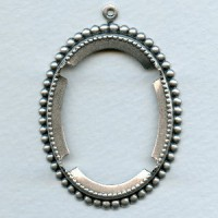 Open Back Pronged Setting Oxidized Silver 40x30mm