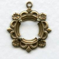 Delicate Fancy 9mm Settings Open Back Oxidized Brass