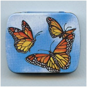 ^Vintage Tin Gift Box Butterfly Made in Switzerland 60mm