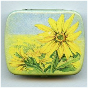 ^Vintage Tin Gift Box-Daisy-Made in Switzerland 60mm