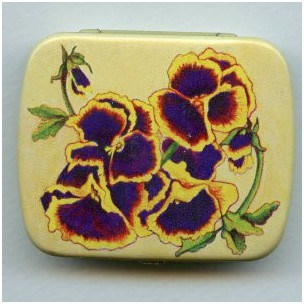 ^Vintage Tin Gift Box-Pansy-Made in Switzerland 60mm