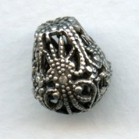 Pear Shape Filigree Beads Oxidized Silver 13mm