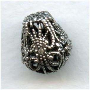 Pear Shape 13mm Filigree Beads Oxidized Silver (3)