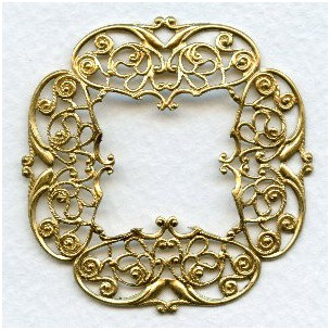 intricately detailed filigree frame raw brass