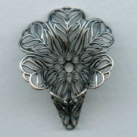 Flower Shaped Filigree Cone Oxidized Silver 34mm (1)