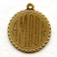 Amour French Charms Raw Brass 21mm
