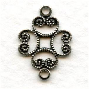 Filigree Connectors Oxidized Silver 17mm