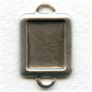 Setting Connectors 16x12mm Rectangle Oxidized Silver