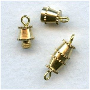 Vintage Style Barrel Clasps Raw Brass (6)
