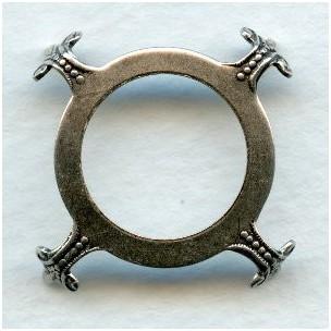 Open Back Turtle 25mm Settings Oxidized Silver (3)