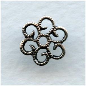Small Round 10mm Flat Filigree Oxidized Silver