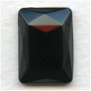 Jet Glass Rectangle Jewelry Stone 18x13mm