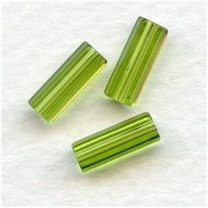 Olivine Czech Glass Hex Tube Beads 10x4mm