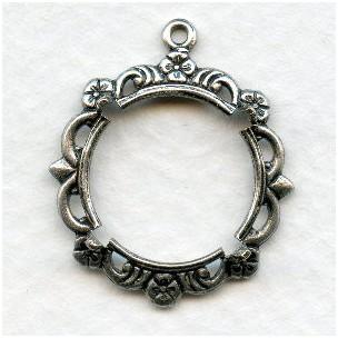 Delicate Fancy Setting 15mm Oxidized Silver