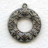Filigree Round Hoops Feminine Oxidized Silver