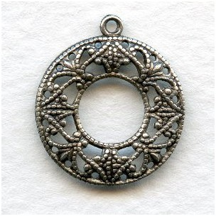 Filigree Round Feminine Hoops Oxidized Silver (12)