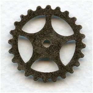 Steampunk Gears Oxidized Silver 25mm (12)