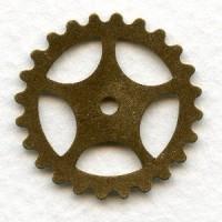Steampunk Gears Oxidized Brass 25mm (12)