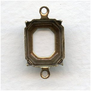 ^Open Back Octagon Setting Connectors Brass 12x10mm (12)