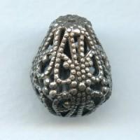 Pear Shape Filigree Beads Oxidized Silver 21mm