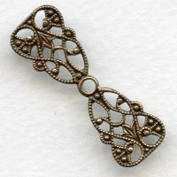 Great Filigree Connector or Fancy Bail Oxidized Brass (3)