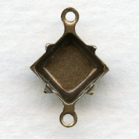 Square 8x8mm Setting Connectors Oxidized Brass