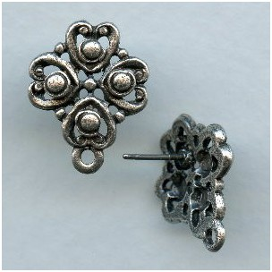 Earring Tops Oxidized Silver Plated Pewter (2)