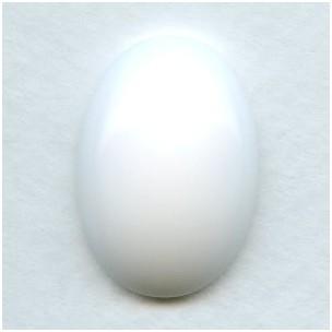 ^Chalk White Glass Cabochon 25x18mm Flat Back (1)