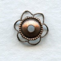 ^Elegant Filigree Bead Caps 9mm Oxidized Copper (12)