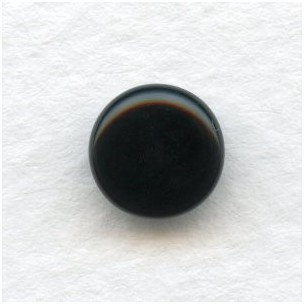 Jet Glass Cabochons Round Buff-Tops 9mm