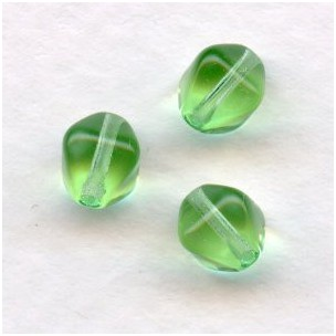 Peridot Square Bicone Glass Beads 6x6mm