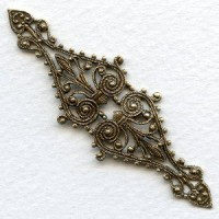 Filigree 68mm Long Narrow Bar Oxidized Brass (1)