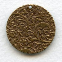 Floral Patterned Drops Oxidized Brass 26mm