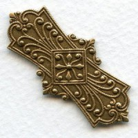Embossed Oxidized Brass Stampings 45mm
