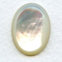White Mother of Pearl 20x15mm Shell Cabochon