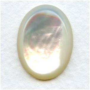 White Mother of Pearl 20x15mm Shell Cabochon (1)