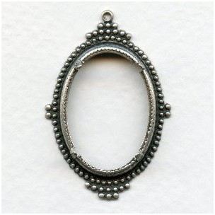 Ancient Design Setting 25x18mm Oxidized Silver