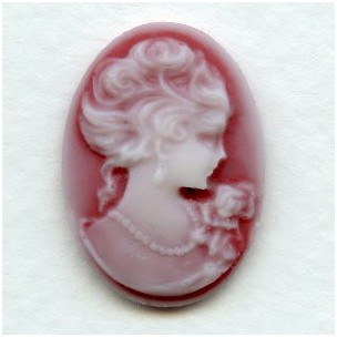 Grand Lady Portrait Cameos Ivory on Ruby 25x18mm