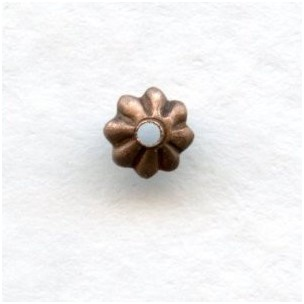 World's Smallest Fluted Bead Caps 3mm Oxidized Copper
