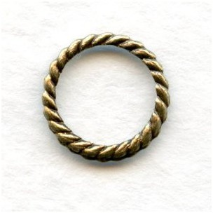 Rope Edge Round 9mm Connector Ring Oxidized Brass