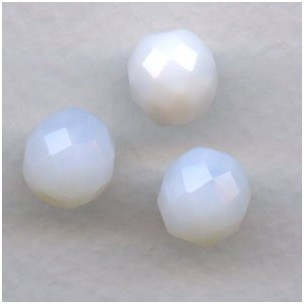 White Opal Fire Polished Round Faceted Beads 10mm (12)