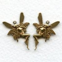 Nude Fairy Charms with Loops Right Left Oxidized Brass (6 pairs)