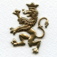 Large Scottish Lion Stampings Oxidized Brass 40mm