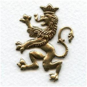 Large Scottish Lion Stampings Oxidized Brass 40mm (3)
