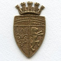 Royal Coat of Arms Crest Oxidized Brass Medallion 57mm
