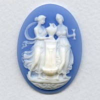 Cameo Women at Fountain White on Blue 40x30mm