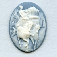 Cameo Charioteer White on Blue Resin 40x30mm