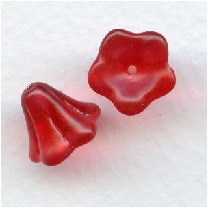 ^Ruby Satin Lucite Flower Beads 12x10mm (12)