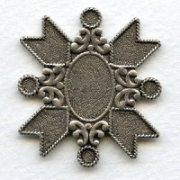 Medallion Crest 40mm Oxidized Silver