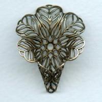 ^Flower Shaped Filigree Cone Oxidized Brass 34mm (1)